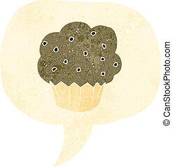 símbolo, retro, caricatura, cupcake