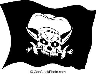símbolo, roger, pirata, cranio, jovial