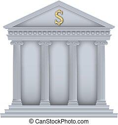símbolo, roman/greek, banco, templo