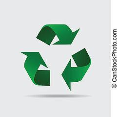 símbolo, símbolo., empaquetado, vector, reciclar, illustrat