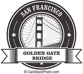 símbolo, san, -, portão, dourado, francisco