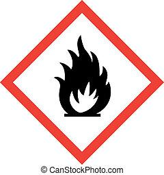 símbolo, señal, fuego, peligro
