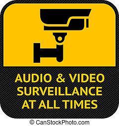 símbolo, seguridad cámara del juez, cctv, pictogram
