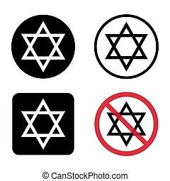 símbolo., sello, judaism., hexagram, israel, estrella, plano, icono, david, religión, símbolo, bíblico, jerusalén