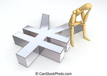 símbolo, sentado, colocar, figura, yen