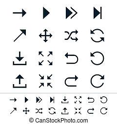 símbolo, seta, ícones