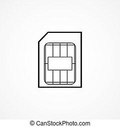 símbolo, sim, tarjeta