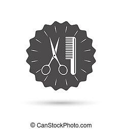 símbolo, sinal, cabelo, barbeiro, tesouras, icon., pente