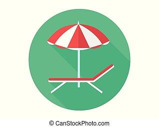 símbolo, sinal, vetorial, cadeira, praia, ícone