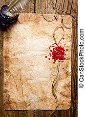 símbolo, sobre, imprinted, cera, sellar, rojo