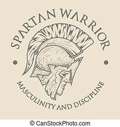 símbolo, spartan, warrior., grego