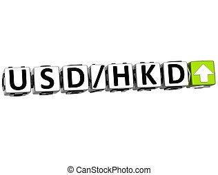 símbolo, tasa, hkd, moneda, 3d, usd, concepto, botón