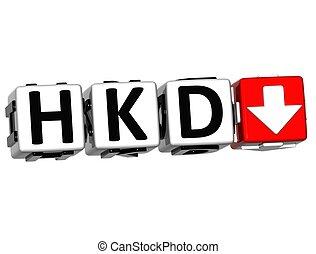 símbolo, tasa, hkd, plano de fondo, moneda, concepto, botón, blanco