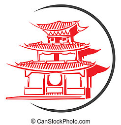 símbolo, templo, chino