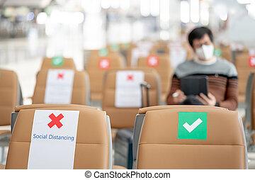 símbolo, terminal, distancing., asiento, aeropuerto, social