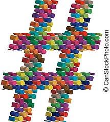 símbolo, tridimensional, coloridos