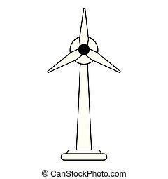 símbolo, turbinas, isolado, pretas, branca, vento