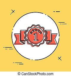 símbolo, um, número, ícone