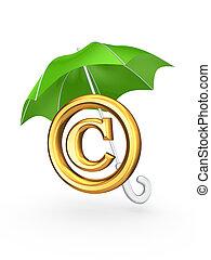 símbolo, umbrella., verde, propiedad literaria, debajo