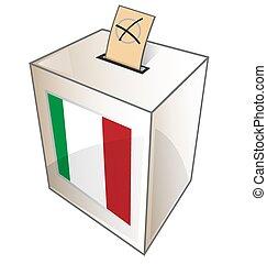 símbolo, urna, fundo branco, italiano