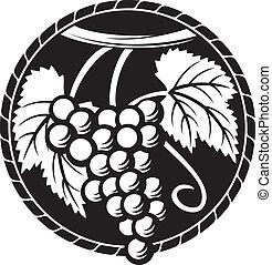 símbolo, uva, desenho, uvas, (grapes