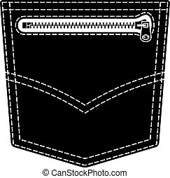símbolo, vaqueros, bolsillo, vector, negro, cremallera