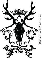 símbolo, veado, heraldic, cranio, emblema