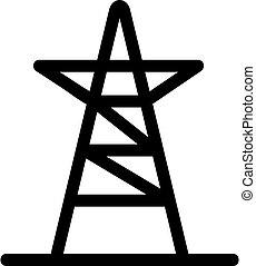 símbolo, vector., alto, isolado, contorno, voltagem, ilustração, ícone, torre