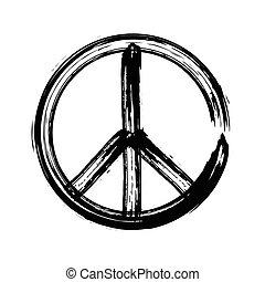 símbolo, vector, amistad, paz, icono, pacifism