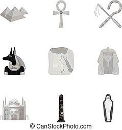 símbolo, vector, colección, grande, monocromo, style., ...