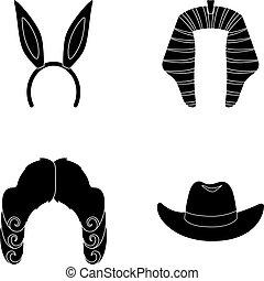 símbolo, vector, colección, orejas de conejo, sombreros, peluca, negro, estilo, iconos, conjunto, cowboy., web., ilustración, acción, juez