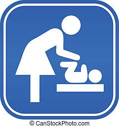 símbolo, vector, habitación, madre