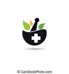 símbolo, vector, icono, medicina, herbario