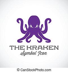 símbolo, vector, kraken, icono