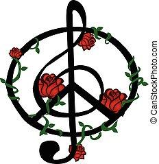 símbolo, vector, música, paz
