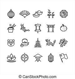 símbolo, vector, negro, delgado, china, línea, set., icono
