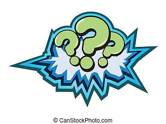 símbolo, vector, pregunta, botón, ilustración