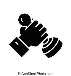 símbolo, vector, signo., icono de estampilla, negro, funcionario, ilustración, plano, glyph, concepto
