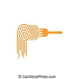símbolo, vector, tallarines, logotipo, rollo, tenedor, concepto, pastas