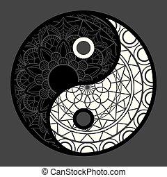 símbolo, vector, yang, yin, icon., estilo, fondo negro, armonía, plano, balance.