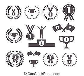 símbolo, vencedor, jogo