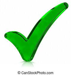 símbolo, verde, confira mark