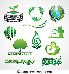 símbolo, verdes