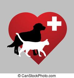 símbolo, veterinario, ilustración