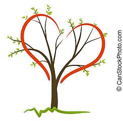 símbolo, vetorial, amor, natureza