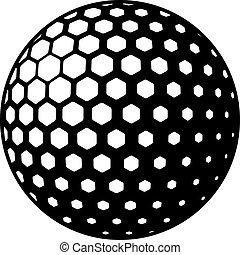 símbolo, vetorial, bola golfe