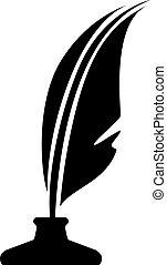 símbolo, vetorial, caneta, garrafa, tinta