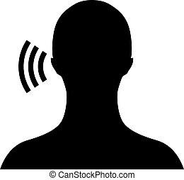 símbolo, vetorial, escutar