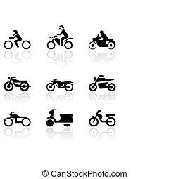 símbolo, vetorial, motocicleta, set.