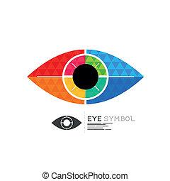 símbolo, vetorial, olho, diamante